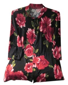 Blouse Top Black, red roses