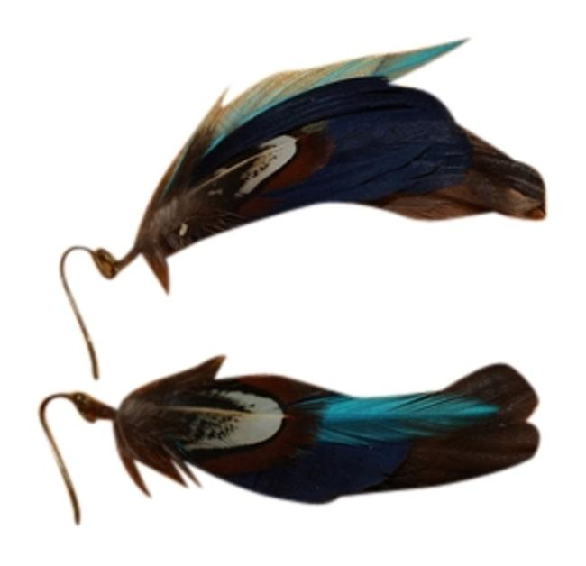 Item - Blue Multi Fun Boho Feather Earrings