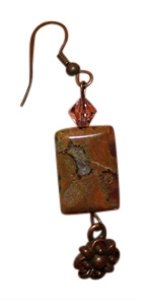 Handmade Earth Stone Rectangular Dangle Earrings