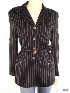 Dana Buchman Dana Buchman Rayon Viscose Wool Black Gold Striped Belted Blazer Jacket