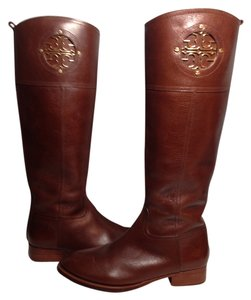 Tory Burch Kiernan Leather Equestrian Logo Almond Boots