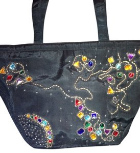 COLUMBINE Tote in BLACK/MULTI COLORED JEWELS