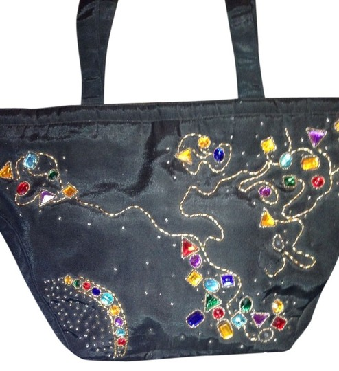 Preload https://img-static.tradesy.com/item/772183/large-canvas-satchel-blackmulti-colored-jewels-tote-0-0-540-540.jpg