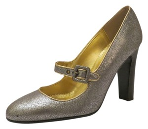 J.Crew Mary Jane Gold Silver Metallic Pumps