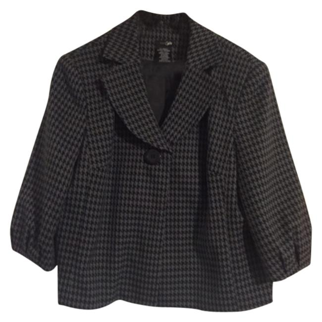 Item - Houndstooth Black and Gray A-line Jacket Pant Suit Size 16 (XL, Plus 0x)