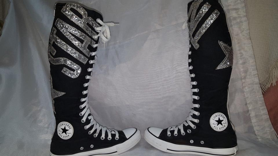 c5700a40609 Converse Black with Silver All Star Mens 7 Womens Glitter Logo Zip ...