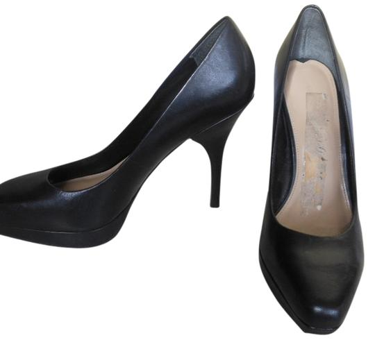 Via Spiga Platform Stiletto Brown Leather'made In Italy Black Pumps