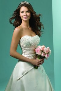 Alfred Angelo White Satin 1136 Traditional Wedding Dress Size 14 (L)