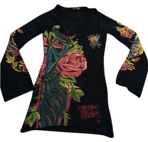 Christian Audigier Beaded LONG Sweater Hoodie short dress Black with multi color accents and stones on Tradesy