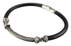 David Yurman David Yurman Leather & Cable Bracelet w/ Diamonds