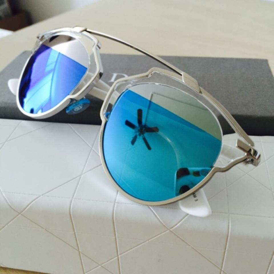 3b9aaff01981 Dior  So Real  48mm Mirrored Sunglasses Palladium White Silver Blue Mirror  Image 9. 12345678910