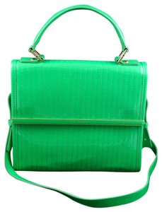 Ted Baker Suno Mini Dark Quilted Enamel Shoulder New Tote in Green