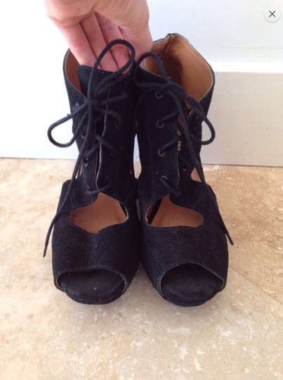 Chelsea Crew Lulus Nasty Gal Suede Suede Jeffrey Campbell Designer Size 9 Cut Out Cut Out Lace Up Lace Up Open Toe Peep Toe Up Black Wedges