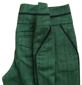 Leifsdottir Wool Herringbone Work Attire Wide Leg Pants Green
