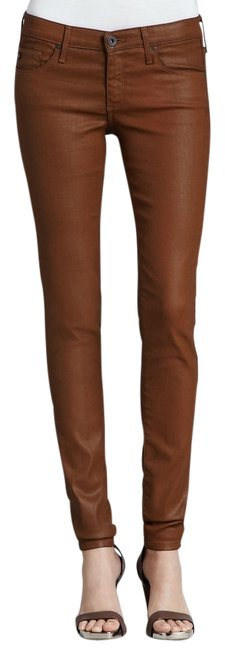 Item - Brown Coated The Absolute Legging Wax Cognac Bear Bee Stretch Skinny Jeans Size 28 (4, S)