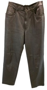 Ralph Lauren Leather Straight Pants BROWN