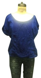 Xhilaration Crochet Shirt Retro 90s Top Indigo blue