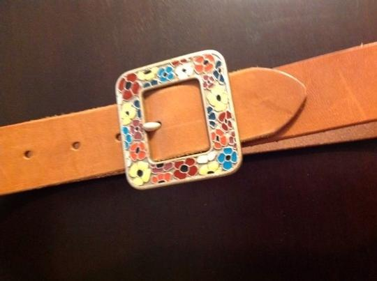 Gap Leather flower buckle belt