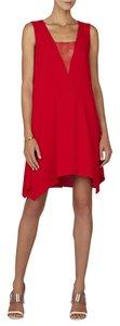 BCBGMAXAZRIA Red Lace Yoke Sleeveless Dress