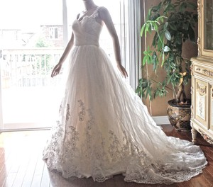New Ivory Lace Wedding Dress - Princess Gown With Long Train Wedding Dress