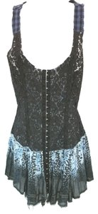 Free People short dress BLACK/BLUE Lace Cotton on Tradesy