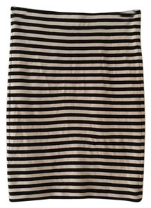 Madewell Pull On Striped Classic Mini Skirt Black & Cream