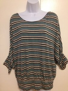 Studio M Top Navy & aqua striped