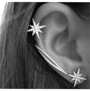 Apm monaco Trendy and Beautiful Star cuff Earring set 925 sterling silver Love Right Ear wears the cuff and the left ear has a star stud post earring