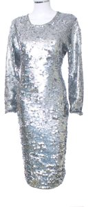 Cathy Hardwick Sequin Holiday Evening Sweater Lambs Wool Wool Vintage Stretchy Longsleeve Dress