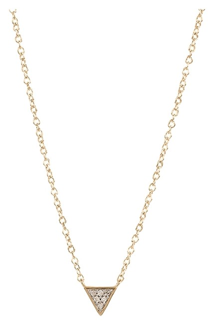 Item - Yellow Gold Super Tiny Solid Pave Triangle By Necklace