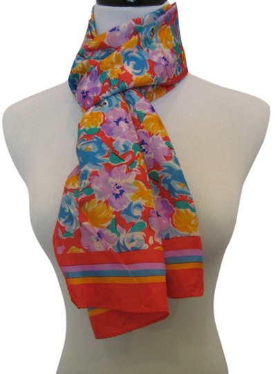 The Specialty House The Specialty House Silk Red Orange Purple Blue Multi Color Floral Scarf