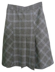 Banana Republic A-line Plaid&check Pattern Classic Style & Skirt Grey, Pale Blue
