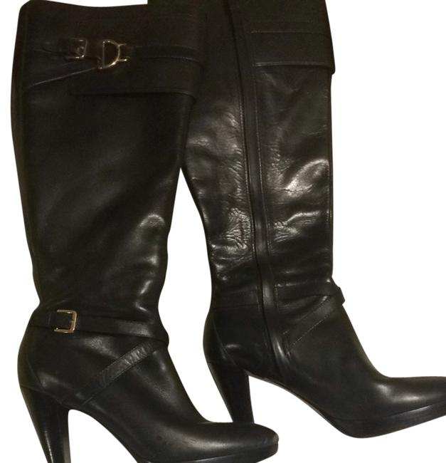 Item - Black Buckle Tall Leather Boots/Booties Size US 9.5 Regular (M, B)