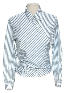 Doncaster Longsleeve Pinstripe Wrap Top Blue & White