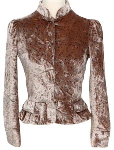 Marc Jacobs Metallic Velvet Peplum Coat