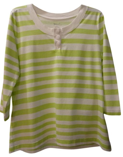 Kim Rogers T Shirt Lime green w/white stripes