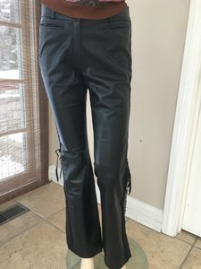 Dior Leather Flare Pants black
