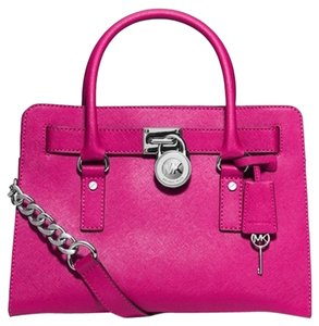 Michael Kors Mk Lock And Key Pink Mk Hamilton Saffiano Leather Satchel in Raspberry Pink/Silver Tone Hardware