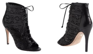 Alice + Olivia Leather Open Toe Lace Black Boots