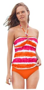 Ralph Lauren 2 Piece Tie-Dye Striped Halter Tankini w/ Solid Bottom