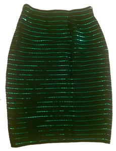 St. John Sequin Night Out Date Night Classic Pencil Sparkle Knit Skirt Green