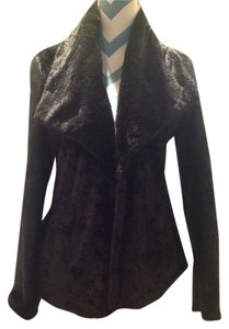 Via Spiga Hip Modern Very Chic Faux Leather And Timeless Stylish Flattering Showstopper Shawl Collar Fur Coat