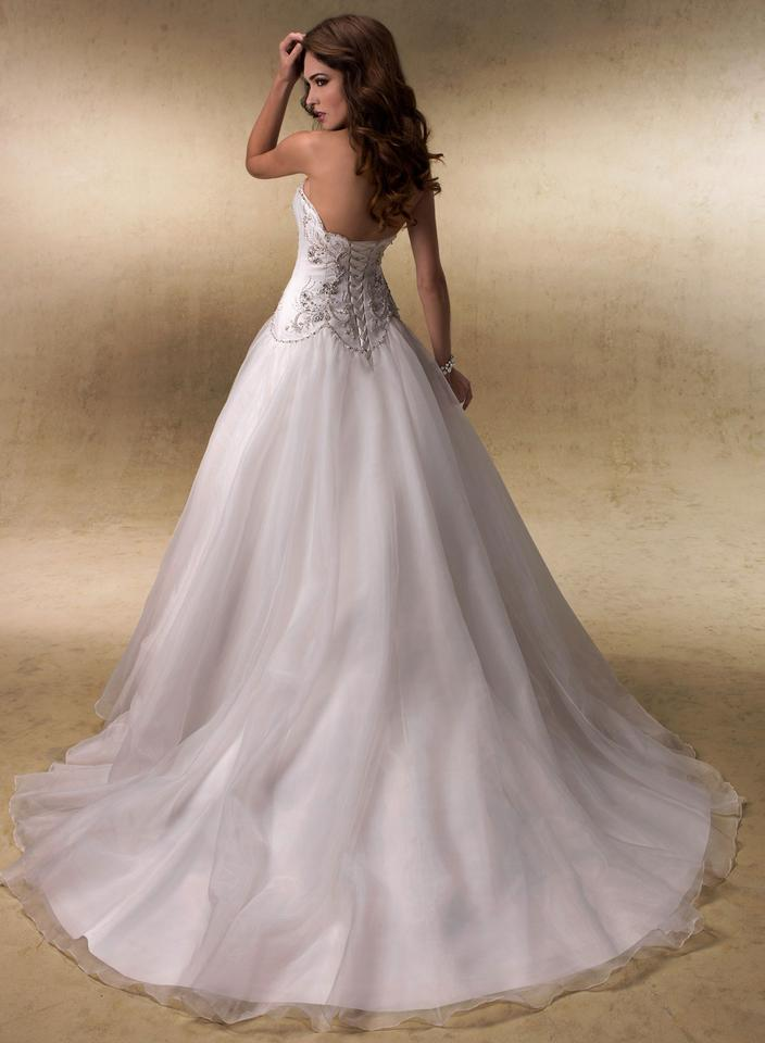 Maggie Sottero Ivory Organza Over Deered Satin Allison Traditional Wedding Dress Size 16 Xl