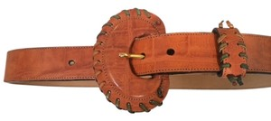 Carlos Falchi Carlos Falchi Genuine Leather Belt w/Top Stitching