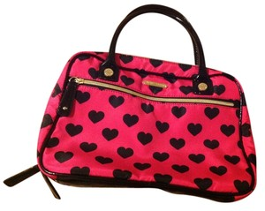 Betsey Johnson Betsey Johnson travel makeup bag 2 sides pink black & white hearts brand new without tag