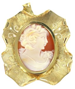 18KT YELLOW SOLID GOLD PIN BROOCH CAMEO FILIGREE CARVED SHELL VICTORIAN PENDANT