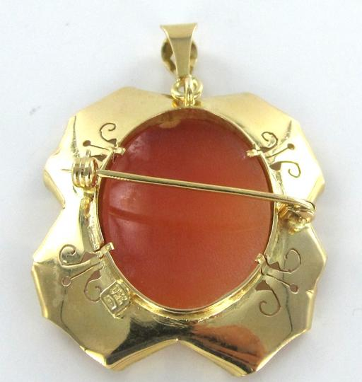 Other 18KT YELLOW SOLID GOLD PIN BROOCH CAMEO FILIGREE CARVED SHELL VICTORIAN PENDANT