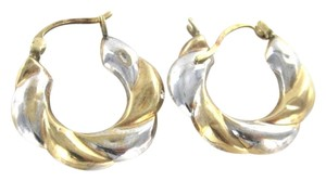 10KT KARAT YELLOW WHITE GOLD EARRINGS HOOP 1.3 GRAMS BRAIDED VINTAGE ANTIQUE