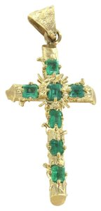 Colombia Sportswear 14K KARAT SOLID GOLD 5.1 GRAMS CROSS RELIGIOUS EMERALDS COLOMBIA EMERALD PENDANT