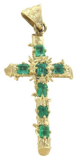 Other 14K KARAT SOLID GOLD 5.1 GRAMS CROSS RELIGIOUS EMERALDS COLOMBIA EMERALD PENDANT